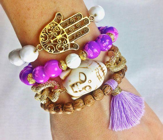 Purple and White Boho Bracelet Stack- Arm Candy with Hamsa, Buddha and Tassel Bracelet