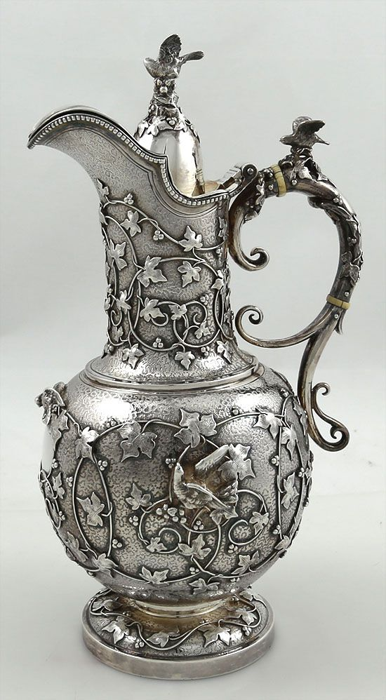 Fine antique silver chocolate pot by Tiffany and Company with applied cast…