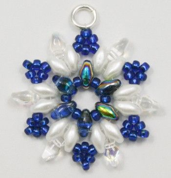 Deb Roberti's Snowflake Earrings---Love the color contrast!....Maybe a pendent instead.