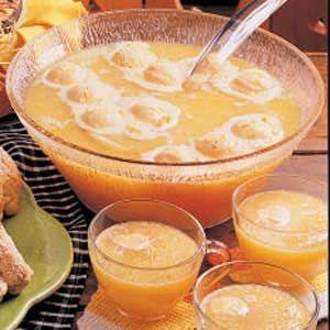 Orange Sherbet Punch -   Ingredients:  1 can (46 ounces) pineapple juice, divided  1 package (3 ounces) orange gelatin  1 carton (64 ounces) orange juice  1 liter ginger ale, chilled  1 quart orange sherbet
