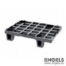 Display pallet 600x400x140 mm, 4 voeten van recycle plastic zwart