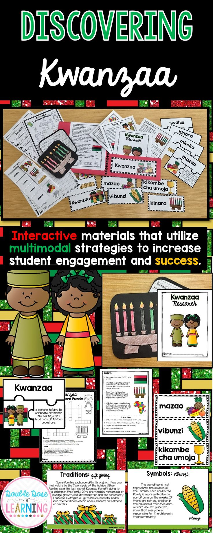 This holiday season, use informational texts and research of the history and traditions of Kwanzaa for grades 1-3 by teaching a unit that integrates ELA and social studies at the same time! The materials in this unit are interactive and utilize multimodal strategies to increase student engagement and outcomes. The research unit is a comprehensive week long unit that integrates technology, vocabulary, writing, art, reading strategies and more!