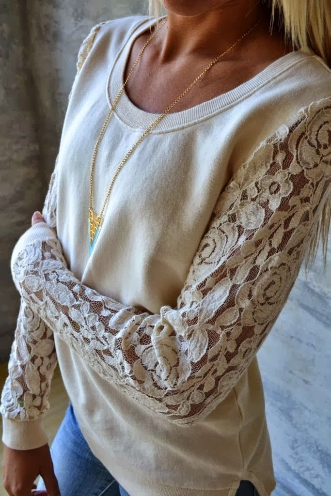 Light  color lace sleeved sweater with golden necklace Visit blog for more fashion styles and deals