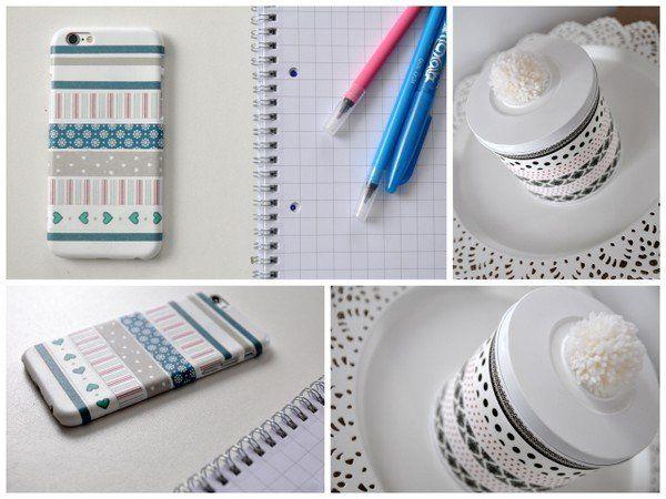 Dekor ragasztó szalag telefontok és dobozka - Masni / Washi tape illy capsule box and mobile cover projects, DIY