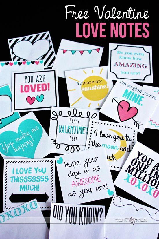 Free Valentine Love Notes for Kids! Love these! Printing them NOW!!