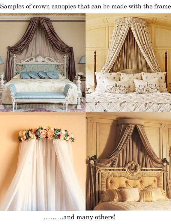 etsy bed canopy on Frame For A Crown Canopy Dark Gray Or White Color Etsy Canopy Bed Diy Bed Crown Canopy Canopy Bed Curtains