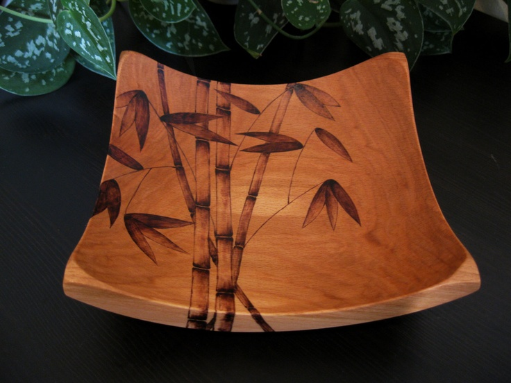 Wooden Bowl - Bamboo, Pyrography Design, Woodburned Design, Beech Wood, Made to Order. $55.00, via Etsy.