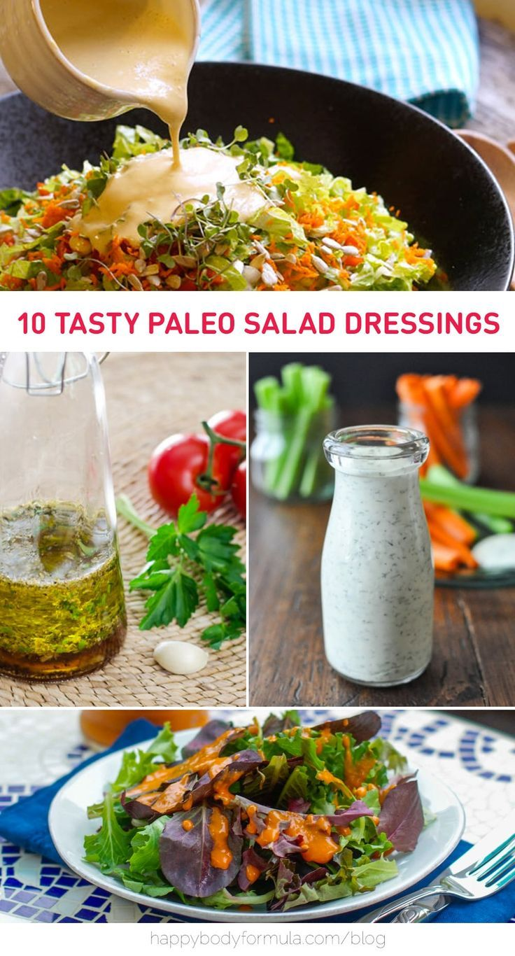 10 Delicious & Versatile Paleo Salad Dressing | A list of ten clean eating approved dressing recipes to make for your favorite vegetable salad. Pin this healthy list of recipes for later.