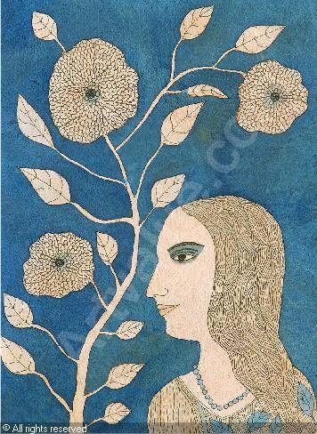badri narayan 1929 india watercolor