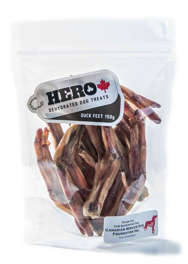 Duck Feet – 150gr   12.99 HeroDogTreats™ Duck Feet are a Great Crunchy Treats Your HERO Will LOVE. These Dehydrated Snacks are Packed with Glucosamine & Cartilage.