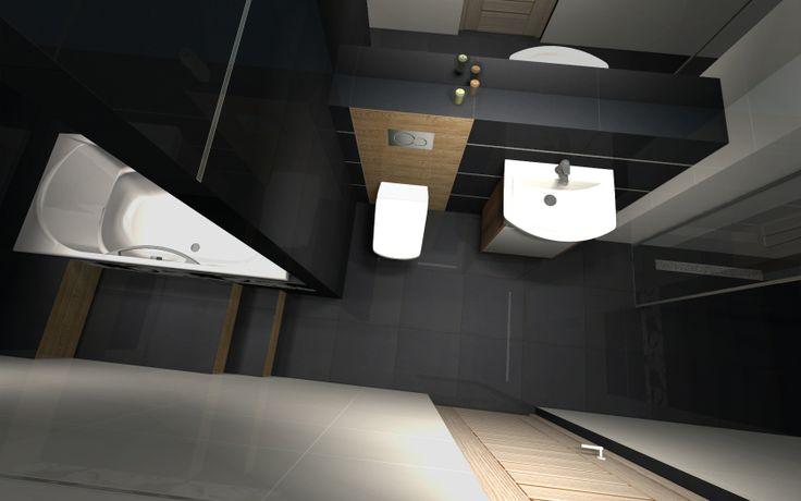 Długa i wąska łazienka bez okna, ze skosem, w której ścianka oddziela strefę kąpielową od reszty łazienki. Bazą w tej łazience są czarne i białe płytki z połyskiem, w które wkomponowano płytki o strukturze imitującej drewno, w naturalnym jasnym kolorze.