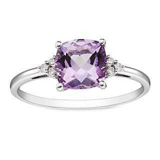 Miadora 10k White Gold Amethyst and Diamond Ring | Overstock.com Shopping - Top Rated Miadora Gemstone Rings