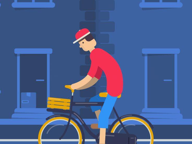 Dude on a bike. by Max Vellinga  #aftereffects #ae #animation #flatdesign #rubberhose
