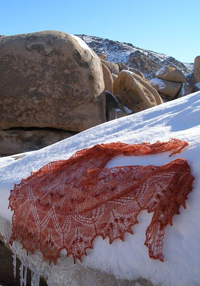 I'm thinking of knitting a lace shawl or stole for a bit of extra warmth. This pattern is pretty.
