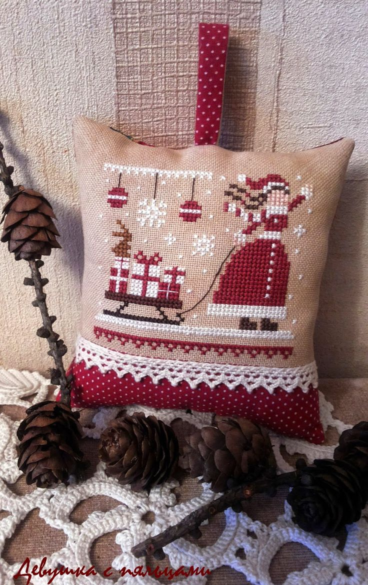 Girl with hoop: Red Christmas: Miss Santa / Red Christmas: Miss Santa the little stitcher