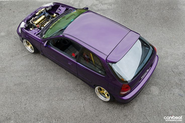 Jose Diaz's Purple Turbo SOHC 1999 Honda Civic EK (EJ) Hatch via canibeat.com photos by  Dewayne Reid - This is the second time I've posted this car, but it has changed a little since then.