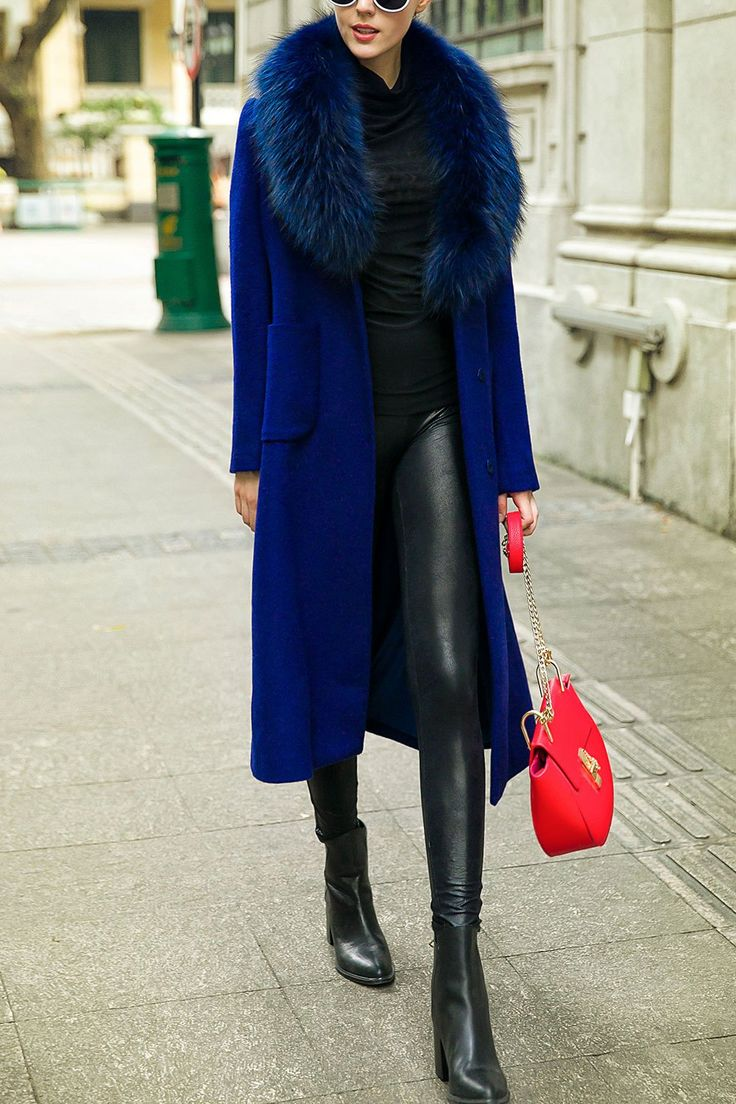 Wool Blend Long Fur Collar Coat
