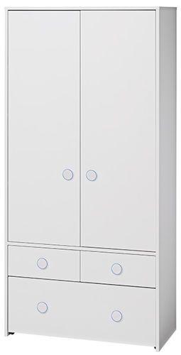 Szafa dziecięca COMBEE 2D      Wszystkie ubranka i drobiazgi w jednym miejscu dzięki nowoczesnej szafie dwudrzwiowej do pokoju dziecka. Posiada trzy szuflady oraz trzy półki i drążek na wieszaki.