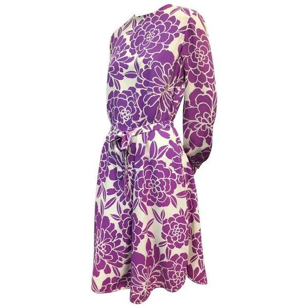Preowned 1960s Pierre Cardin 4-piece Tropical Print Hot Pants, Tunic,... (€910) ❤ liked on Polyvore featuring purple, bandeau bikini tops, bandeau tops, sash belt and pierre cardin