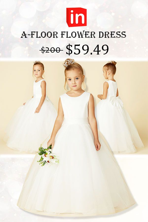 0754b3a57c A-Line Floor Length Flower Girl Dress - Satin / Tulle Sleeveless Jewel Neck  with Bow(s) / Buttons by LAN TING BRIDE®