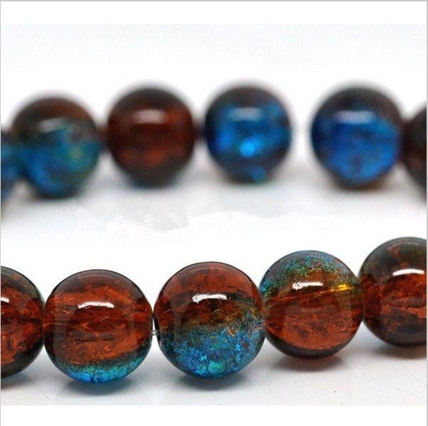 50 шт. Синие & Brown Crackle Glass Круглые Бусины 10 мм 4B062 1 купить на AliExpress