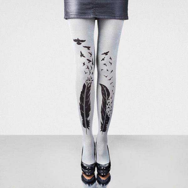 Feathers Light Blue Hand Printed Tights ($29) ❤ liked on Polyvore featuring intimates, hosiery, tights, silver, women's clothing, print tights, thick stockings, light blue tights, patterned pantyhose and light blue stockings