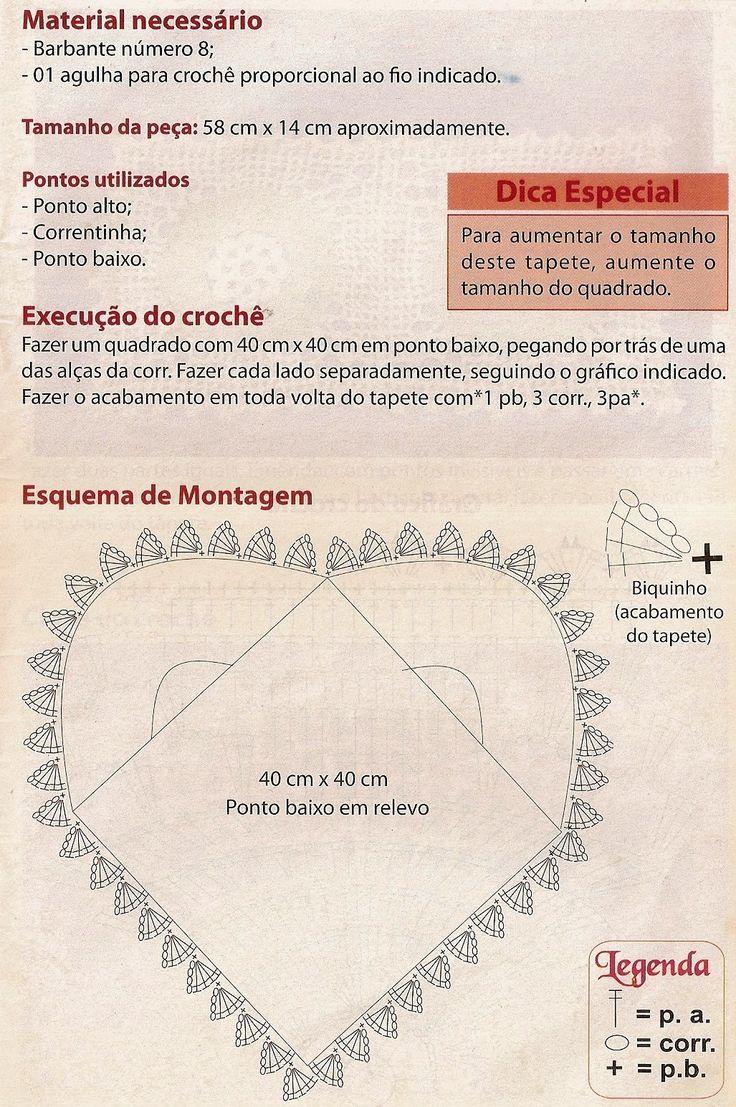 CROCHE CON RICETTA: Tappeto crochet modello di cuore