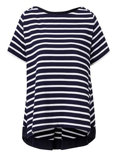 100% Cotton Pique Stripe Swing Tee. Comfortable swing fitting silhouette features a wide scoop neck, raglan short sleeves, back pleat and grosgrain ribbon trim at back hem in an all over stripe knitted fabrication. Available in Midnight/White stripe.