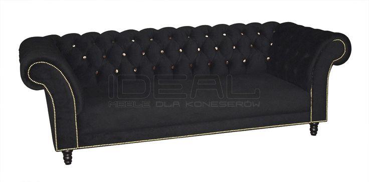 Sofa Chesterfield Kent - Ideal Meble  Przepiękna stylowa sofa z głęboko pikowanym oparciem w której na pierwszy plan wysuwają się guziki w kontrastowym kolorze. Wytworna sofa odnajdujaca się nie tylko w stylowych wnetrzach  Chesterfield Sofas, Armchairs, Sectionals, Sleepers | Leather, Fabric, Linen | czarna, black
