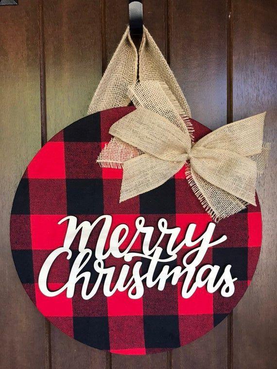 Christmas Door Hanger Buffalo Plaid Christmas Decor Christmas Wreath Merry Christm Christmas Door Hanger Buffalo Plaid Christmas Decor Plaid Christmas Decor
