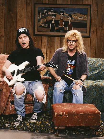 "The 5 Funniest Saturday Night Live Sketches of the '90s | WAYNE'S WORLD | There were no more lovable SNL characters than babe-chasing Wayne (Mike Myers) and Garth (Dana Carvey), so it was heartwarming to see them experience a fantasy come true and end up in a parody of Madonna's justifiably infamous ""Justify My Love"" video. Wayne got to make out with Madonna herself! No way! Way! The sketch was adapted to film in 1992."