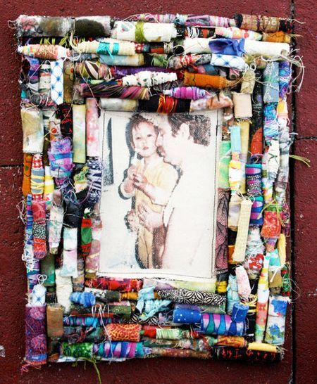 Diy fabric rolled beads on canvas make a colorful picture for Diy fabric picture frame