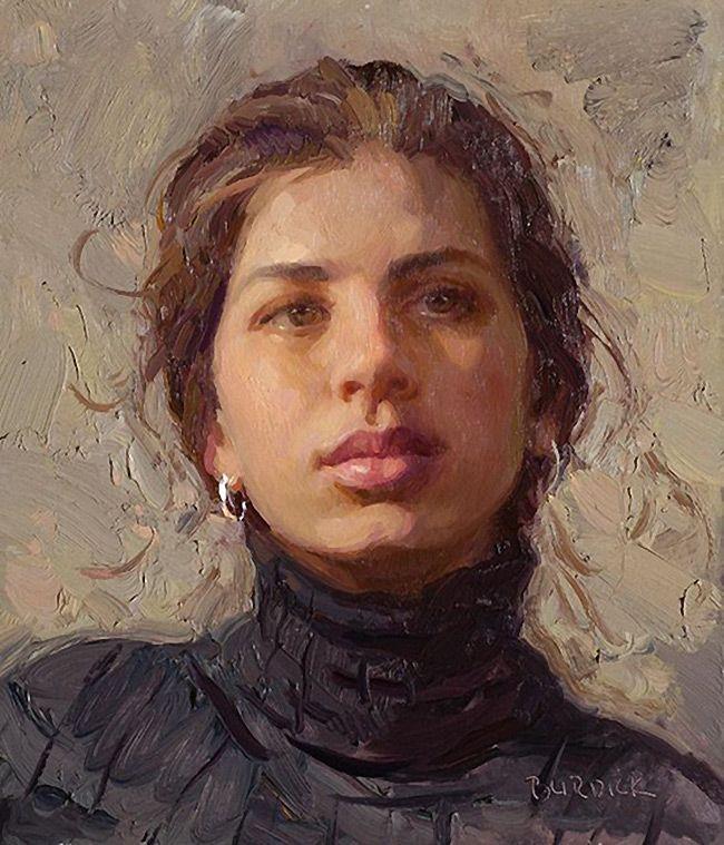 """Megan"" - Scott Burdick (b. 1967), oil on canvas, 2008 {figurative #impressionist art beautiful female head woman face portrait painting #loveart} Beautiful !! <3 scottburdick.com"