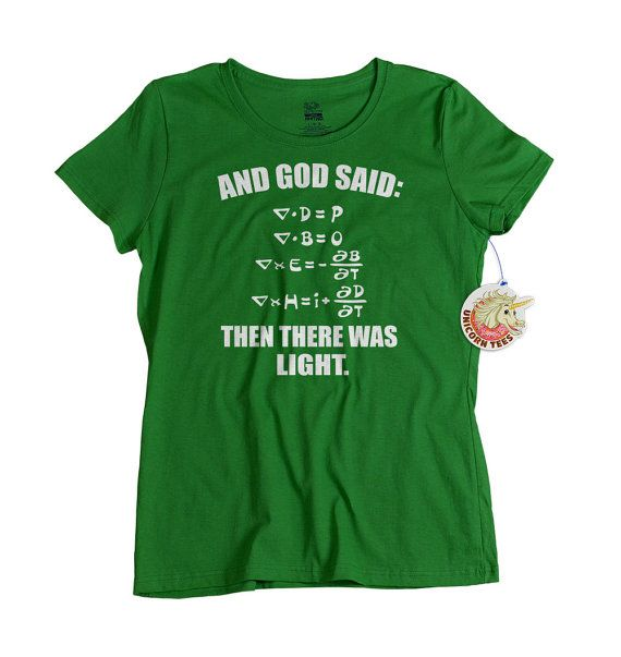 Cool green science geek t shirt makes great gifts for students. Green tee for men, women and teens is available at UnicornTees for $14.99: https://www.etsy.com/listing/115151067/ladies-science-t-shirt-creationism?