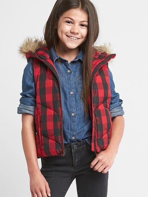 obsessed with this buffalo plaid vest with fur - Love it back to the plaid shirt (mixing the two plaids is ok!) or the striped shirt with sequins.
