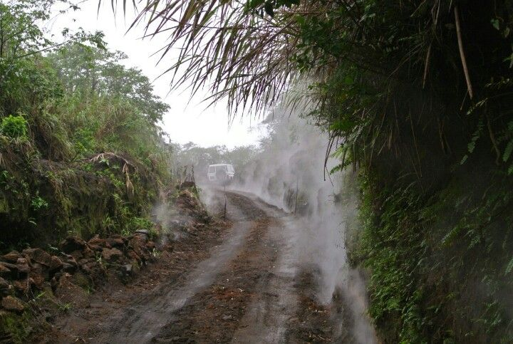 Mt Yasur Volcano, Tanna Island, Vanuatu. The trip up to the top of the volcano with steam coming from the ground and sides.