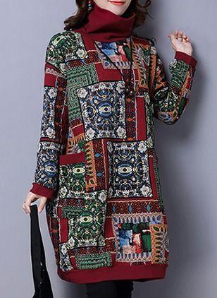 Элегантное платье из хлопока длины по колено с геометрическим принтом с длинными рукавами