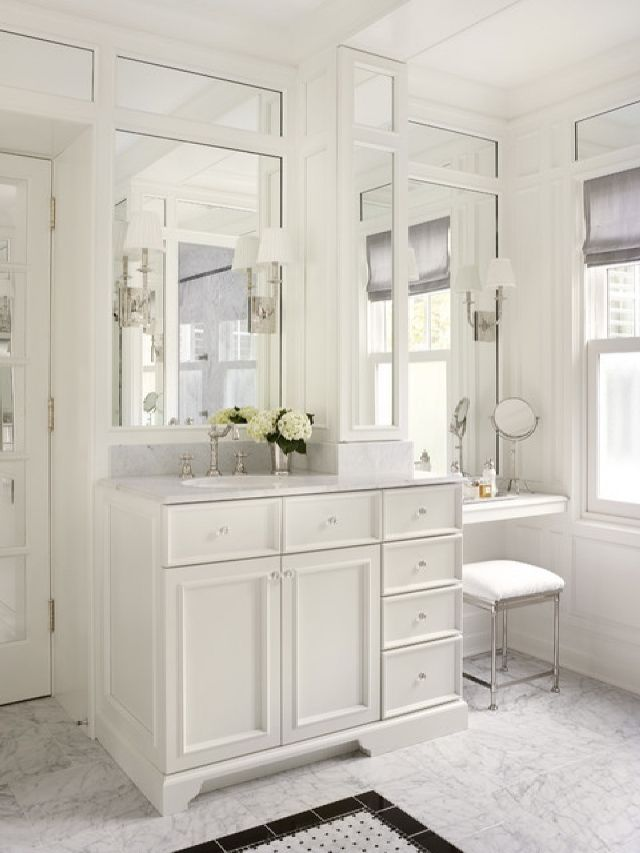Adorable Traditional Bathroom With Makeup Vanity Table Set With Mirror  Design