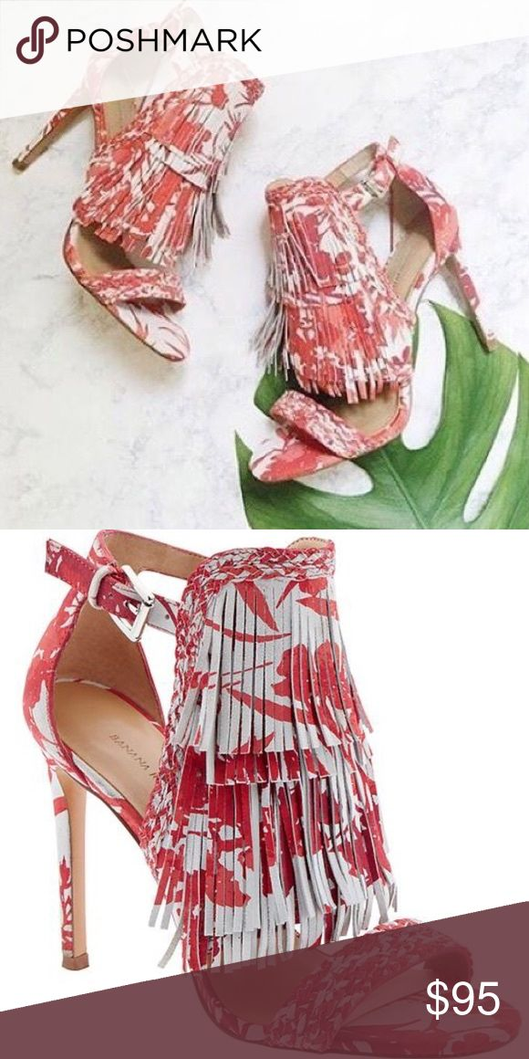 "NWOT • Banana Republic Fringe ""Bryce"" Heels Ladies, look no further than this amazing statement heel! The colors are amazing, the design is killer and the fringe is so on trend!! Never worn (just to try on in the store!)  •  3 1/2 inch heel • SOLD OUT EVERYWHERE!!! Banana Republic Shoes"