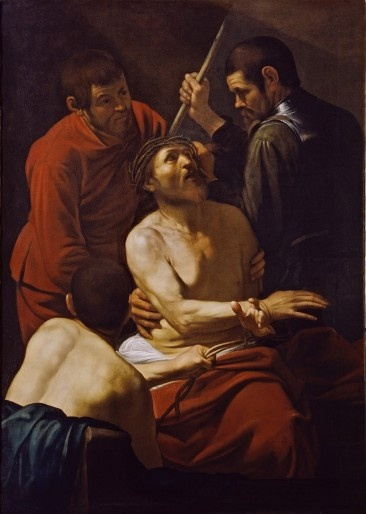 Caravaggio, Coronazione di spine, 1602-1603     olio su tela, cm 177 x 127   Collezione Banca Popolare di Vicenza