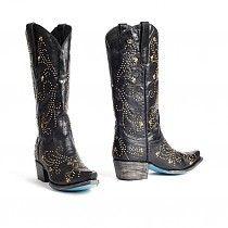 Lane Boots Allyssa zwarte dames cowboylaarzen met goudkleurige studs