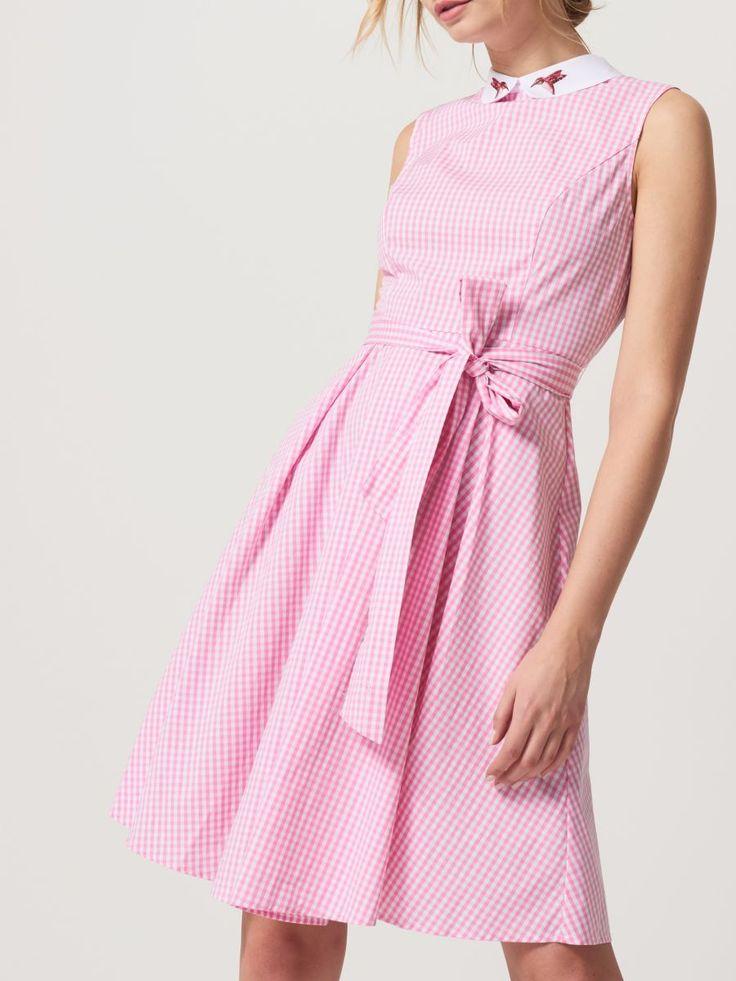 Sukienka w kratkę z ozdobnym kołnierzem, MOHITO, RF540-03X