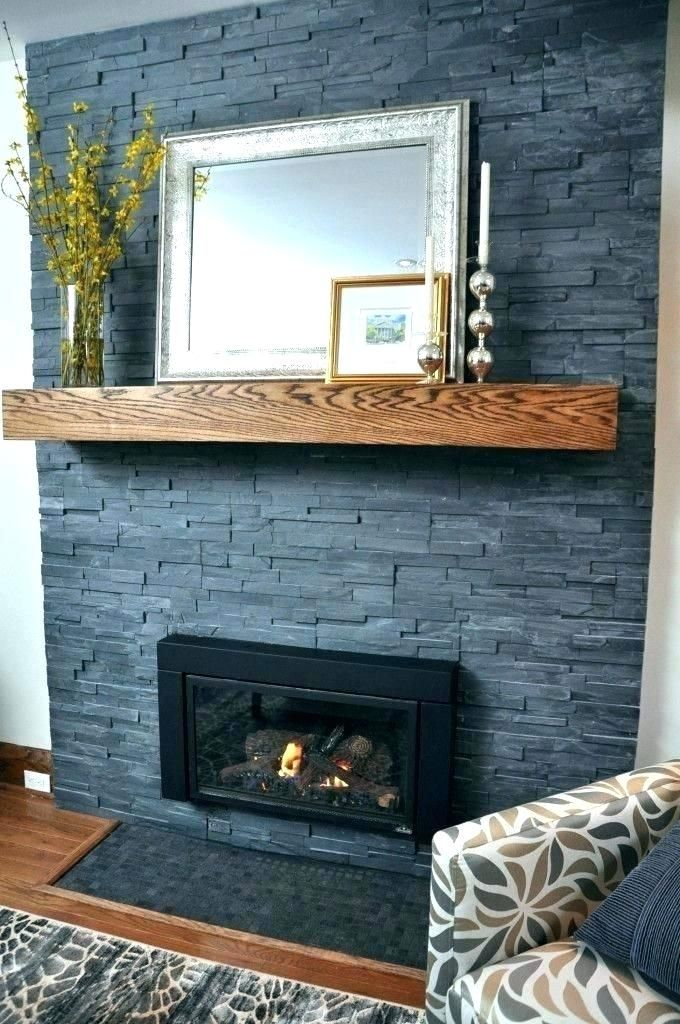 Gray With Wood Slate Fireplace Painted Stone Fireplace Home Fireplace