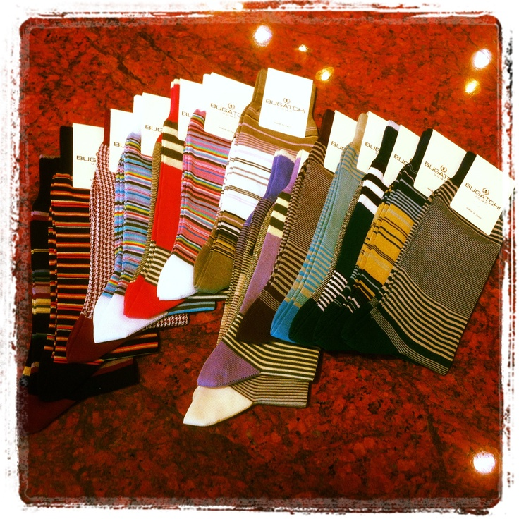 Here are some of the funky Bugatchi socks we carry in our store. A cool sock just completes an outfit
