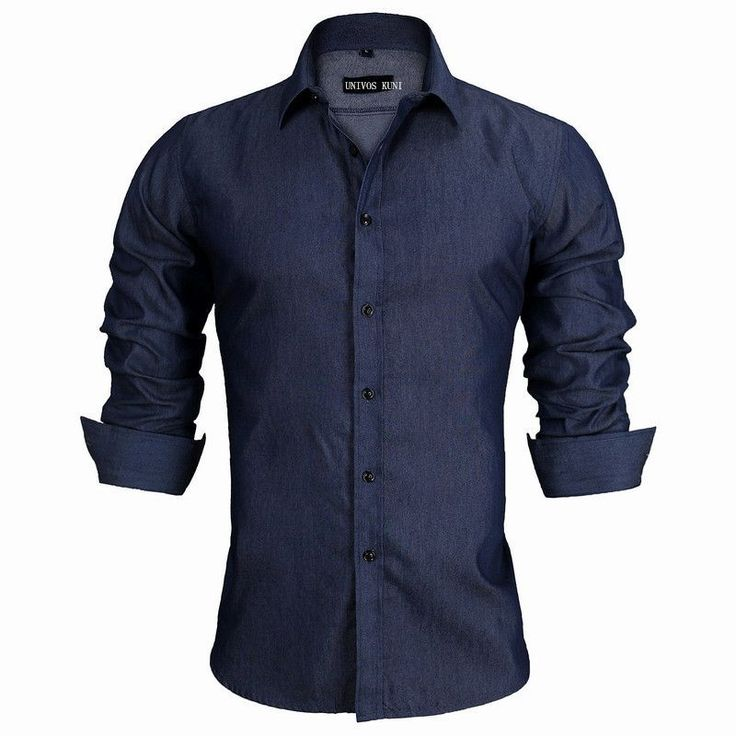 2016 New Brand Men's Denim Shirts Long Sleeve Turn-down Collar Fashion