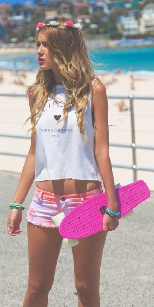skater girl and her pink skateboard ... LA Summer ... girl, prove that you can skate too...
