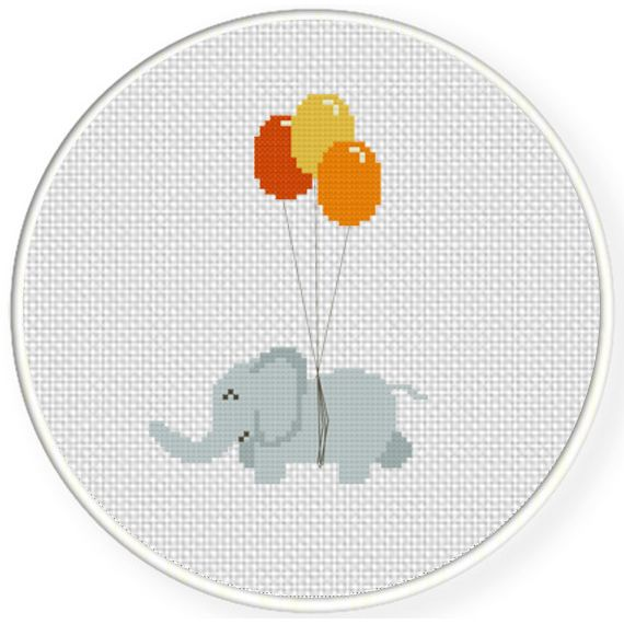 FREE Cute Elephant with Balloon Cross Stitch Pattern