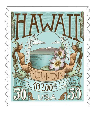 Biljana Kroll's Portfolio: Typography Postage Stamp Concept - Hawaii