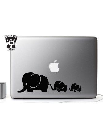 Cute Elephant Family 13 Inch Macbook Laptop Vinyl Decal Sticker for Air Pro Notebook Auto Great Gift Mac PC Computer ❤ Dapper Dog Decals