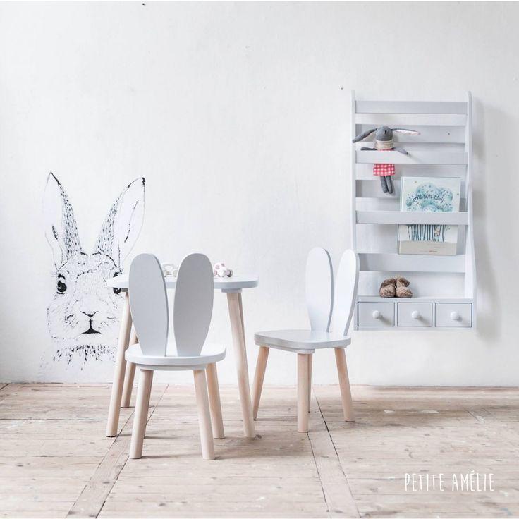 Chaises et table enfant lapin gris | Petite Amélie chaise Enfants